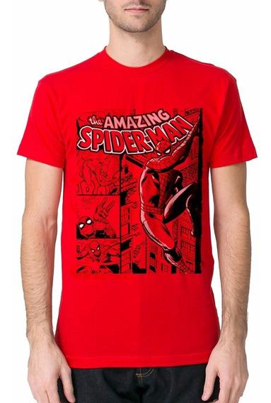 Playera Amazing Red Spider-man Comic Hombre Araña Iron Man