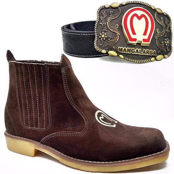 Botina Bota Cowboy Country Bufalo + Cinto Fivela Mangalarga
