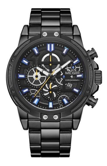 Relógio Masculino Pulseira Aço Preto Cronografo Premium