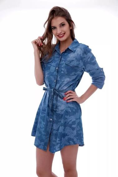 Vestido Chemise Jeans Feminina C/ Cinto Primavera Importado