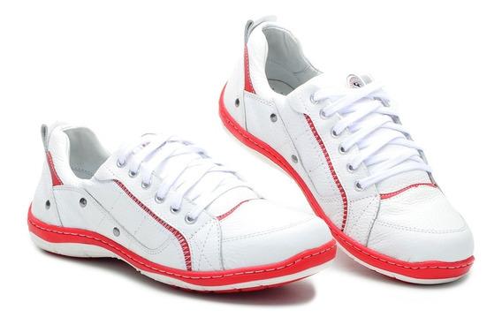 Sapato Sapatênis Couro Branco E Azul Cla-clê 2020