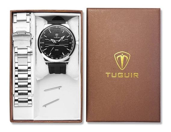 Relógio Analógico Luxo Original Preto Prata Inox Promoção