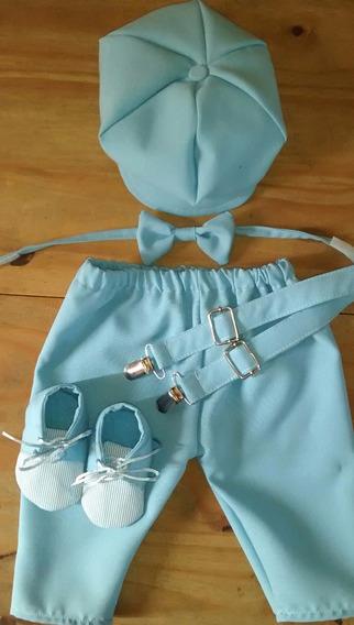 Conjunto Bautismo: Pantalón +boina +moño +tiradores+zapatos