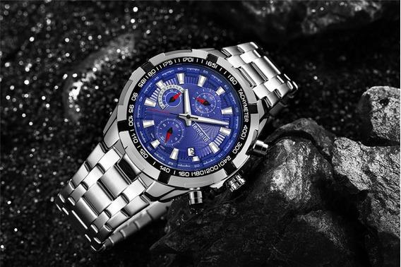 Relógio Temeite Masculino Mostrador Azul Original Luxuoso