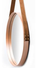 Espelho Adnet Couro Natural 50cm