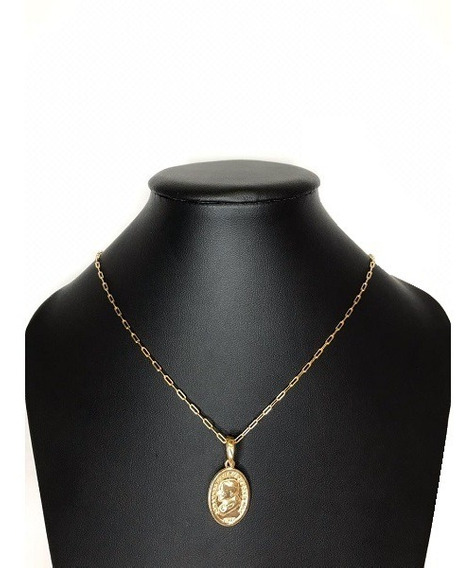 Corrente Cartier Medalha Rosto Papa Banhado A Ouro Amarelo