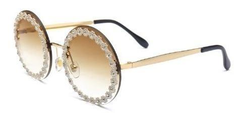 Óculos Sol Daisi Dourado Com Strass Lente Marrom