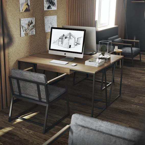 Escrivaninha P/computador(135x56)cm Industrial Madeira Preto