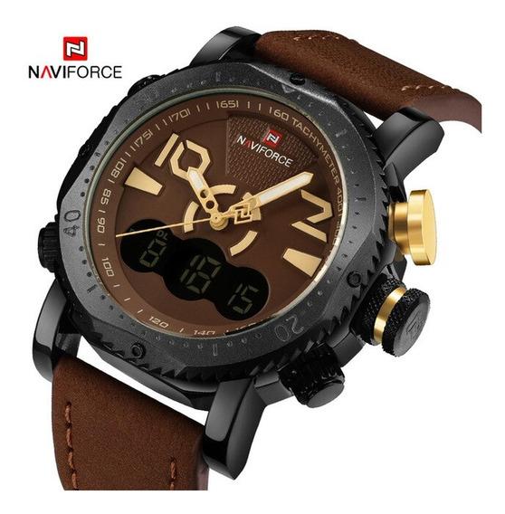 Relógio Masculino Alta Qualidade Original Marrom Claro 9094