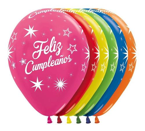 Globo R-12 Sempertex X 50 Feliz Cumpleaño Destellos Infinity