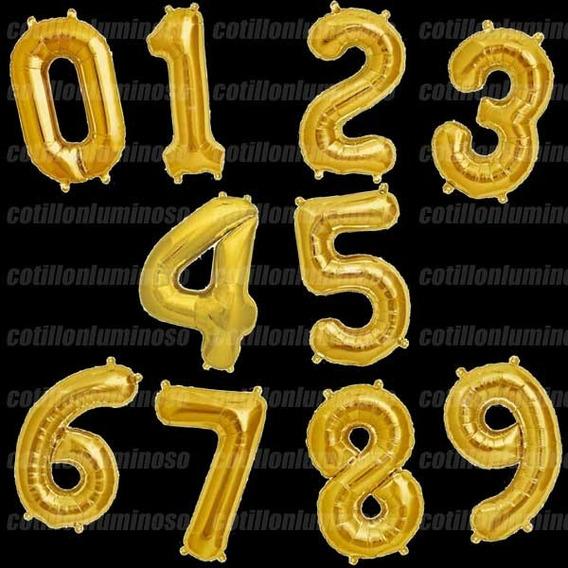 Globos Numero Dorado Metalizado 80 Cm 0 Al 9 Con/stock