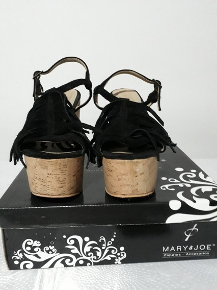 Sandalias Plataforma De Cuero Negro Con Flecos Talle 37