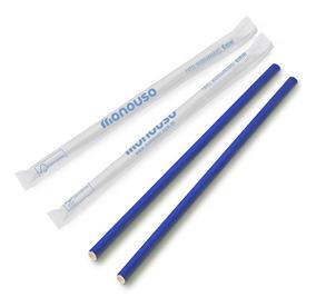 100 Canudos De Papel Biodegradável Azul 6mm Atacado