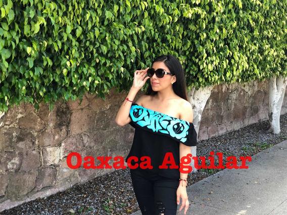 Blusa Mujer Dama Sexy Campesina Hombro Bordada Mexicana Azul