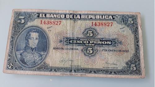 Imagen 1 de 2 de Billete De 5 Pesos  De Colombia  De 1950
