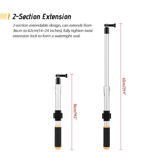 Pólo De Extensão Transparente Flutuador 36-62cm / 14-24 Pole