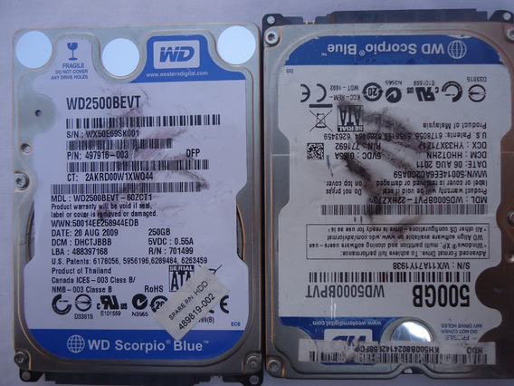 Lote 02 Hd Sata Wd 500gb E 250gb No Estado Dia A7-9