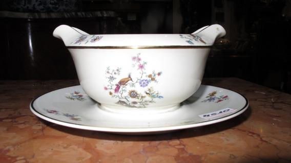 Antigua Salsera De Porcelana Francesa Limoges