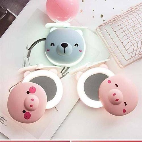 Espelho Led Ventilador Porquinho - Recarregável Usb Portátil