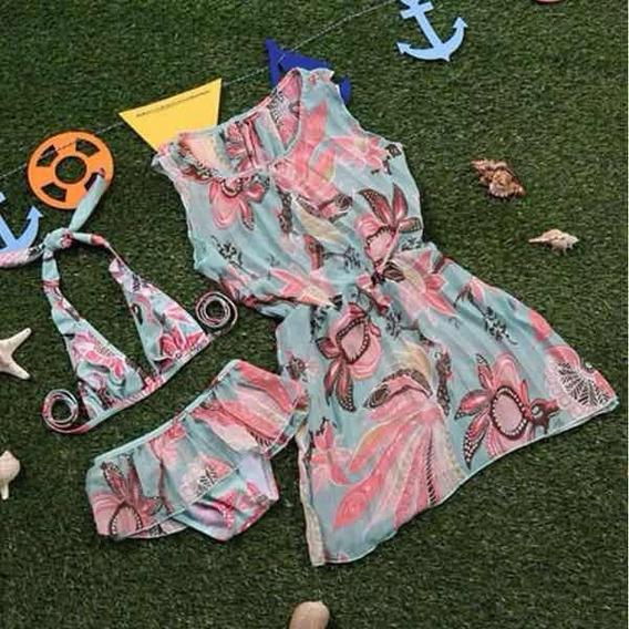 Biquíni Infantil Moda Praia Com Vestido