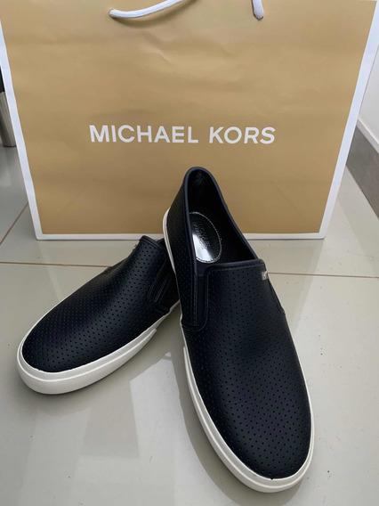 Tênis Michael Kors Original Em Couro Slip On Frete Grátis