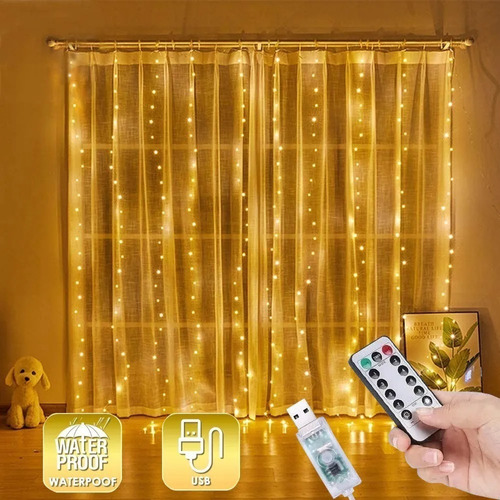 Imagen 1 de 7 de Cortinas Decorativa Led Luces Para Exterior Luz Navidad 3x3