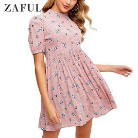 Zaful Floral Mock Neck Blusa Mulheres Vestido