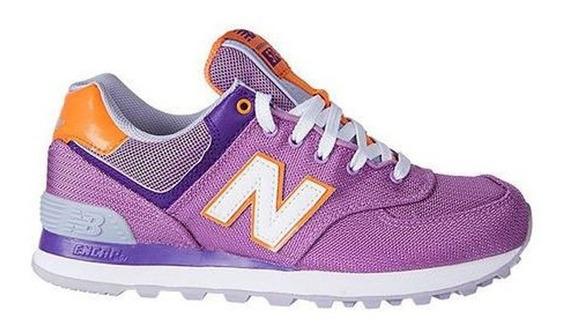 Zapatillas Nb New Balance 574 Originales Mujer Violetas Pci