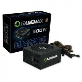 Fonte Atx Gamemax Gm500 500 W Real Preta Pfc Ativo Bivolt 80