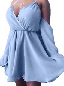 Vestido Feminino Ciganinha Rodado Bojo Alça Curto Rosa Azul