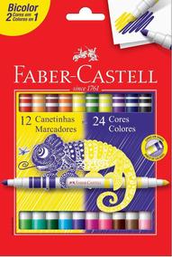 Canetinha 24 Cores Bicolor (2 Em 1) Faber-castell
