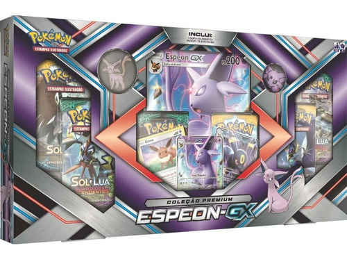 Card Game Pokémon Tcg Box Sol E Lua Premium Espeon Gx