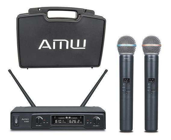Microfone Sem Fio Duplo De Mão Uhf Amw Au62 - Usado