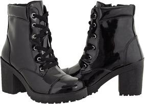 Bota Coturno Feminino Cano Baixo Verniz Preto Cr Shoes 1701