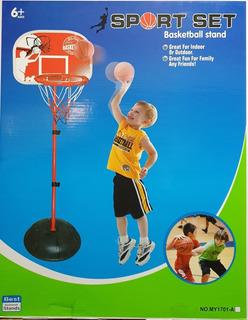 Aro Basketball Niños Ajustable Hasta 160 Cm + Balon Y Bombin