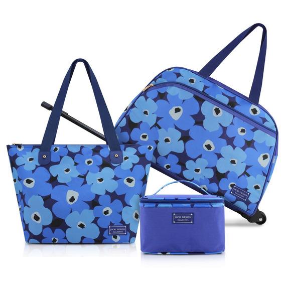 Kit Viagem Papoula Mala De Bordo Bolsa E Necessaire Azul