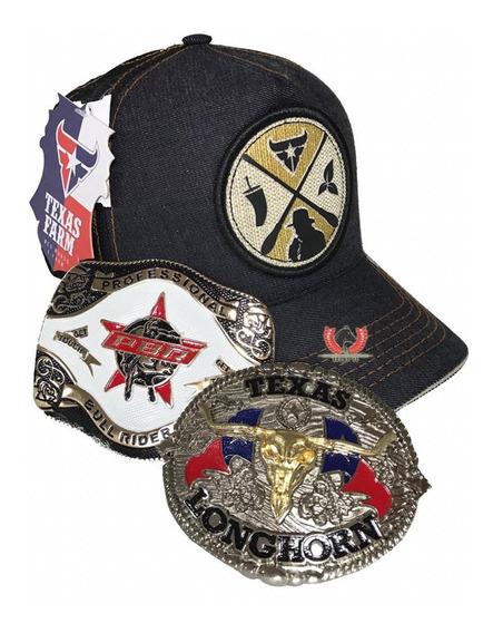 Kit Cowboy Boné E Fivelas Texas E Pbr K3