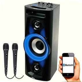 Caixa Som Portátil Bluetooth Philco 100w 2 Microfones C/ Fio
