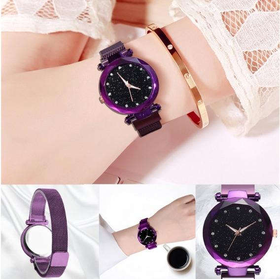 Reloj Para Dama Watch Correa Magnetica Color Morado + Envio