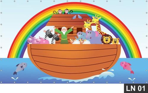 Imagem 1 de 6 de Arca De Noé Painel 4,00x1,60m Lona Festa Aniversário Decora