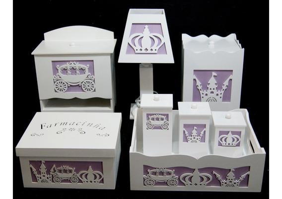 Kit Bebê Higiene Mdf Pintado Farmacinha Princesa 3d