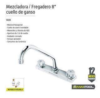 Mezcladora P/fregadero 8 Pulg Cuello De Ganso Maxtool 308401
