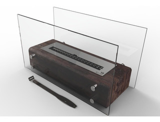 Lareira Ecológica Completa Em Dormente Queimador Inox 50cm