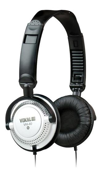 Fone De Ouvido Vokal Vh-40 Prata Com Alto-falante De 40mm