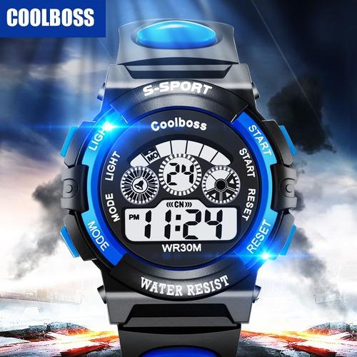 Relógio Pulso Digital Led Infantil Masculino Azul Promoção