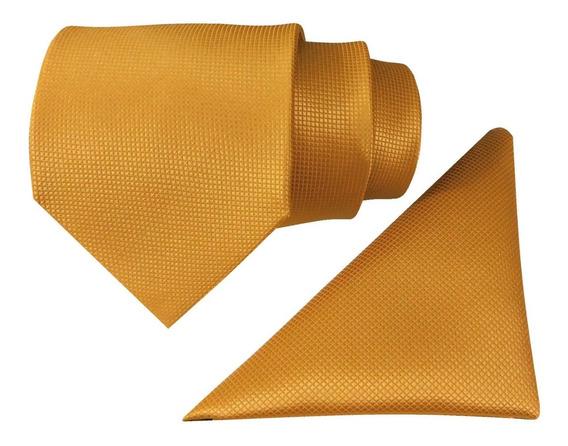 Corbata Dorada Y Pañuelo Elegante Micro Cuadros Envío Gratis