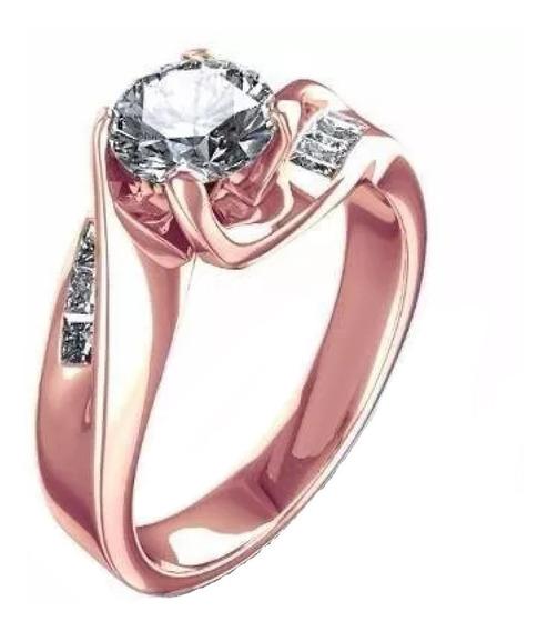 Anillos Comprmiso 18kt .79ct Diamantes Y Zafiro Marloz