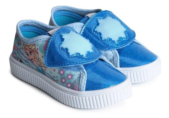 Tênis Original Frozen Disney Azul Com Led - Sugar Shoes