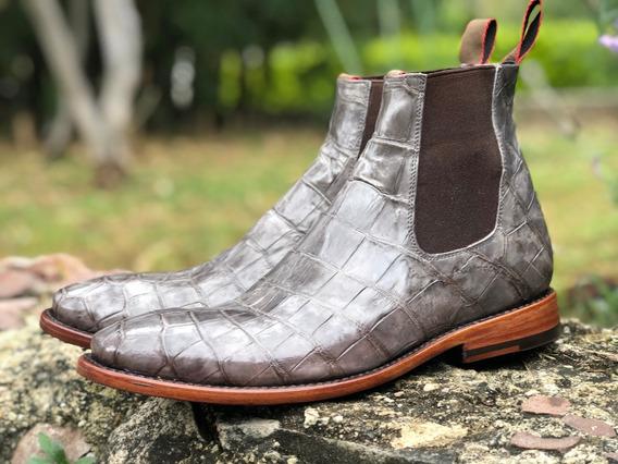 Chelsea Boots, En Piel De Cocodrilo Original, Diseño Italia
