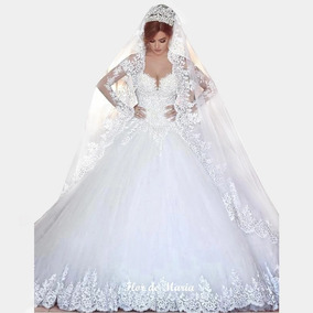 Vestido Noiva Princesa Luxo Mangas Véu Saiote Com Manga